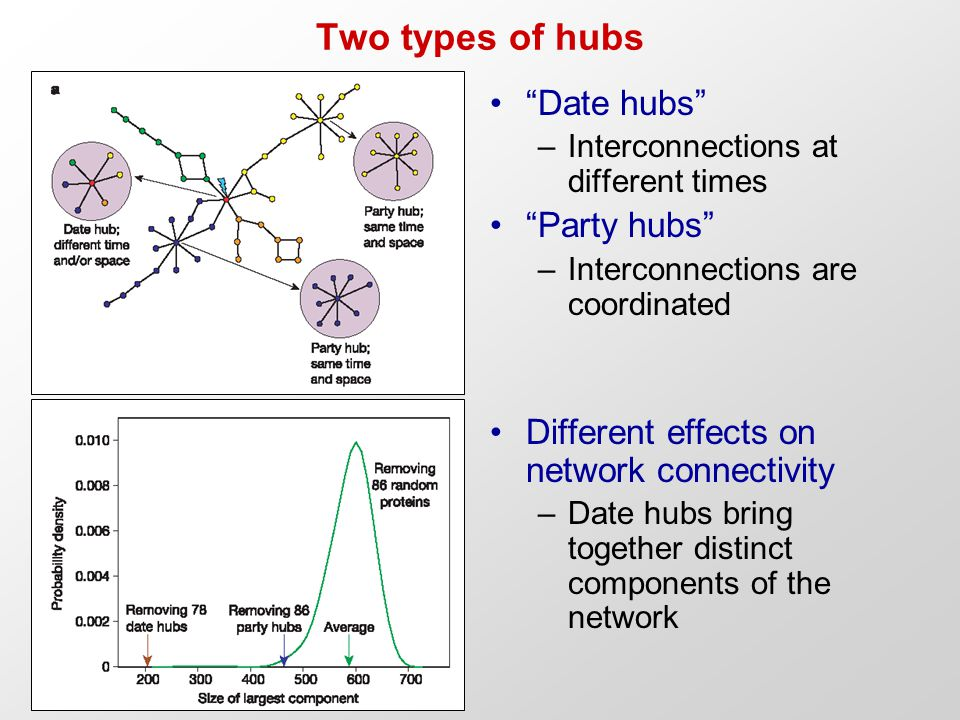 Two types of hubs Date hubs –Interconnections at different times Party hubs –Interconnections are coordinated Different effects on network connectivity –Date hubs bring together distinct components of the network