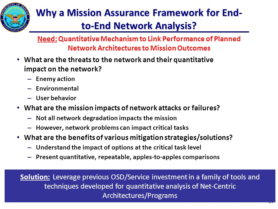Why a Mission Assurance Framework for End- to-End Network Analysis.