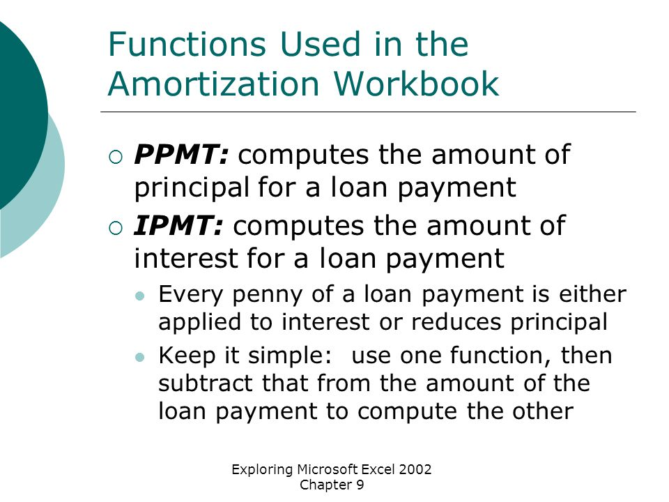 Exploring Microsoft Excel 2002 Chapter 9 Functions Used in the Amortization Workbook  PPMT: computes the amount of principal for a loan payment  IPMT: computes the amount of interest for a loan payment Every penny of a loan payment is either applied to interest or reduces principal Keep it simple: use one function, then subtract that from the amount of the loan payment to compute the other
