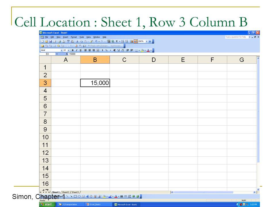 Cell Location : Sheet 1, Row 3 Column B Simon, Chapter 1