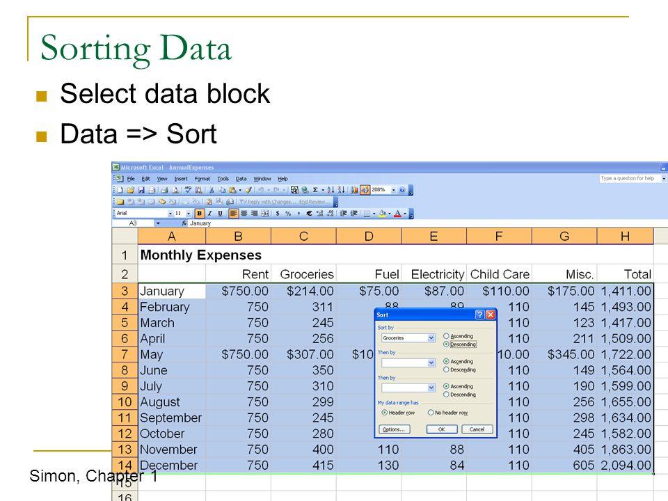 Sorting Data Select data block Data => Sort Simon, Chapter 1