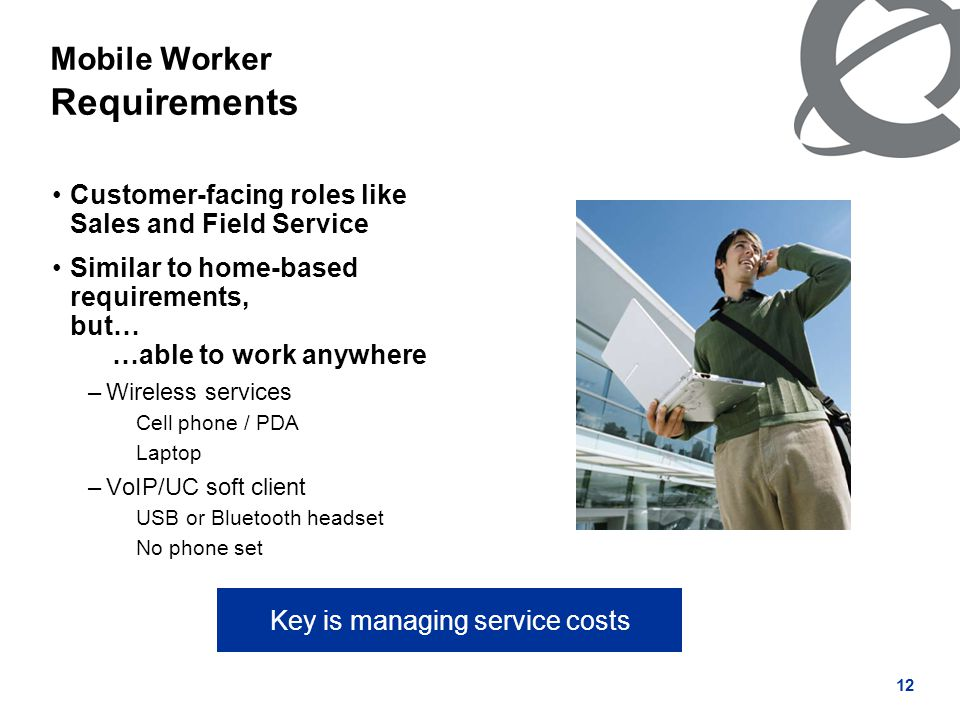 12 Mobile Worker Requirements Customer-facing roles like Sales and Field Service Similar to home-based requirements, but… …able to work anywhere –Wireless services Cell phone / PDA Laptop –VoIP/UC soft client USB or Bluetooth headset No phone set Key is managing service costs