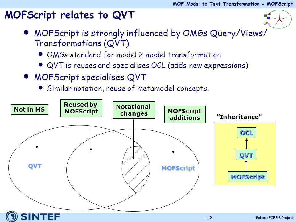 MOF Model to Text Transformation - MOFScript Eclipse ECESIS Project - 12 - MOFScript relates to QVT MOFScript is strongly influenced by OMGs Query/Vie