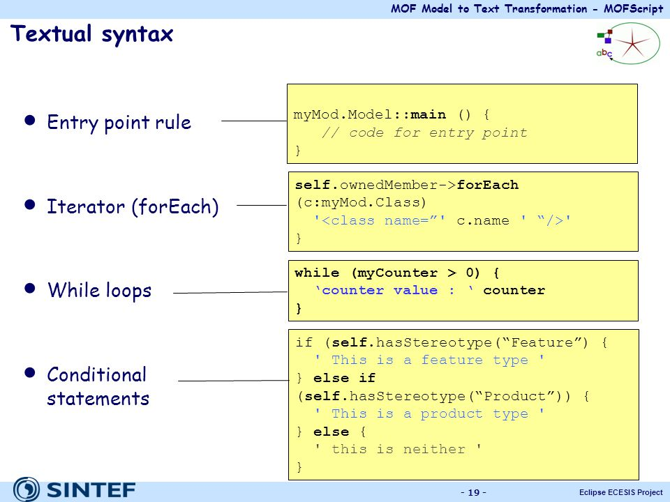 MOF Model to Text Transformation - MOFScript Eclipse ECESIS Project - 19 - Textual syntax Entry point rule Iterator (forEach) While loops Conditional
