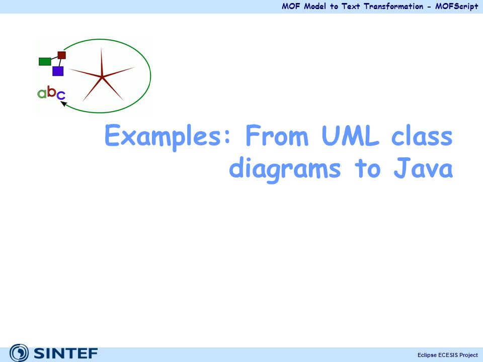 MOF Model to Text Transformation - MOFScript Eclipse ECESIS Project Examples: From UML class diagrams to Java