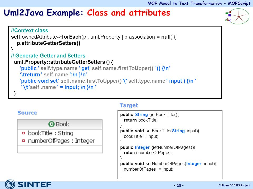 MOF Model to Text Transformation - MOFScript Eclipse ECESIS Project - 28 - Uml2Java Example: Class and attributes //Context class self.ownedAttribute-