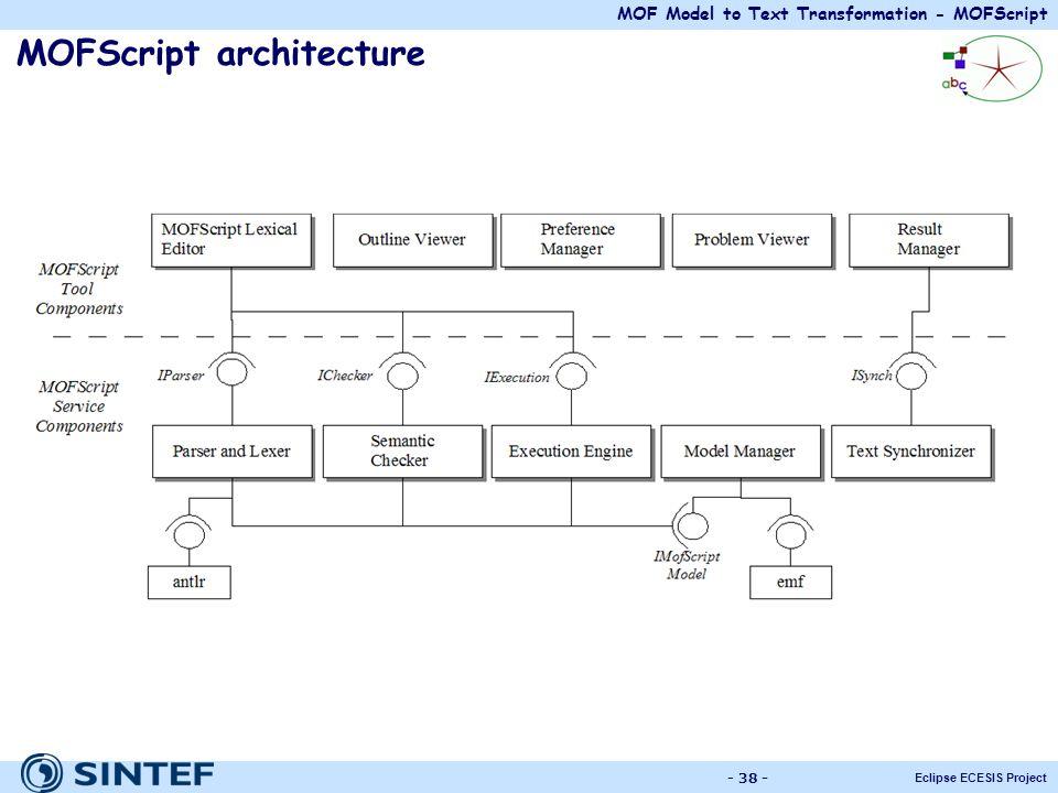 MOF Model to Text Transformation - MOFScript Eclipse ECESIS Project - 38 - MOFScript architecture