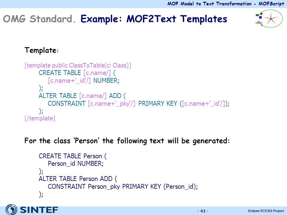 MOF Model to Text Transformation - MOFScript Eclipse ECESIS Project - 42 - OMG Standard. Example: MOF2Text Templates Template : [template public Class