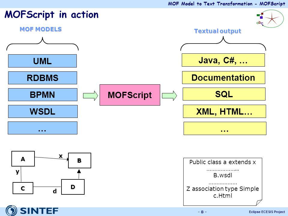MOF Model to Text Transformation - MOFScript Eclipse ECESIS Project - 8 - MOFScript in action Documentation RDBMS MOFScript Java, C#, … XML, HTML… UML