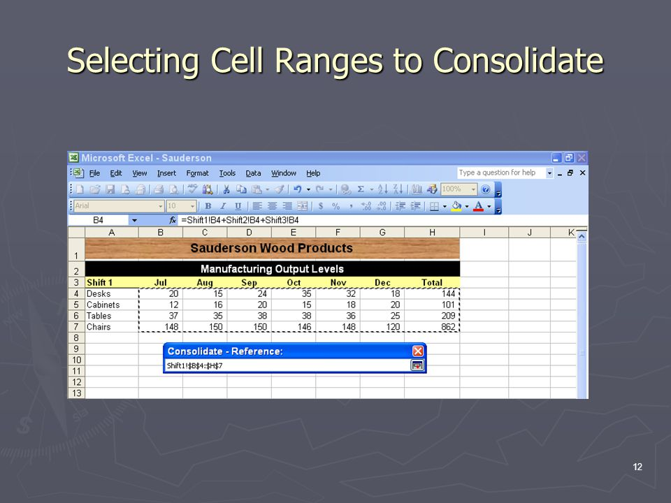 12 Selecting Cell Ranges to Consolidate