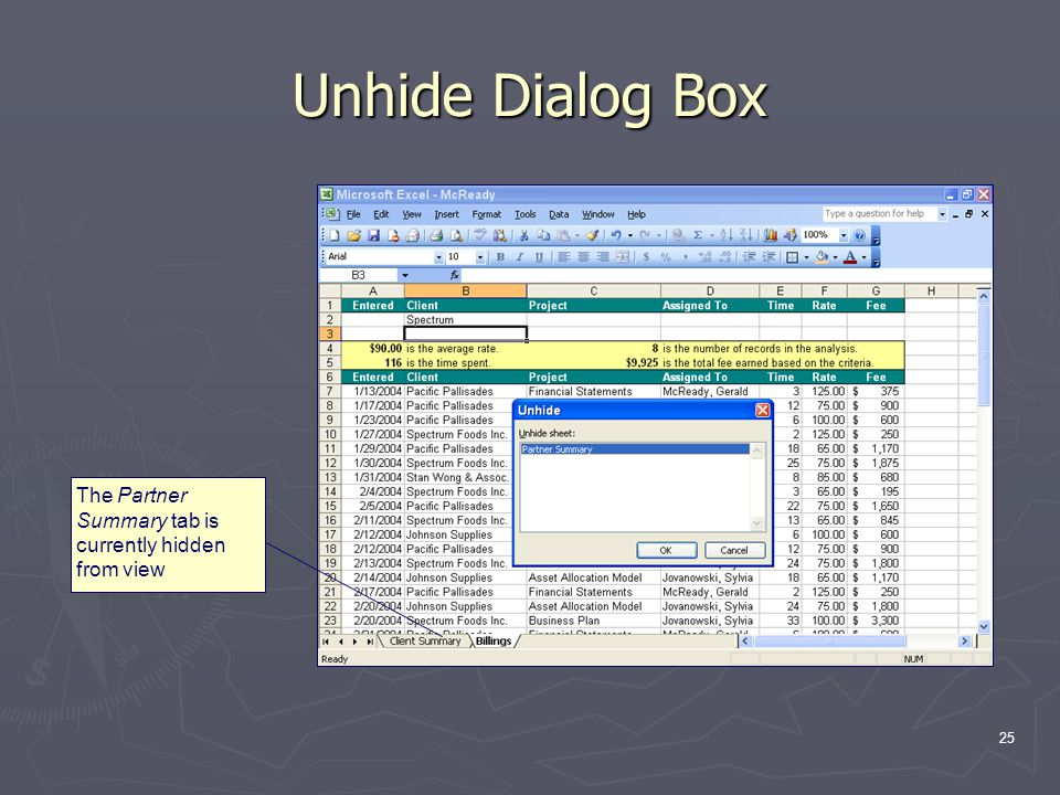 25 Unhide Dialog Box The Partner Summary tab is currently hidden from view