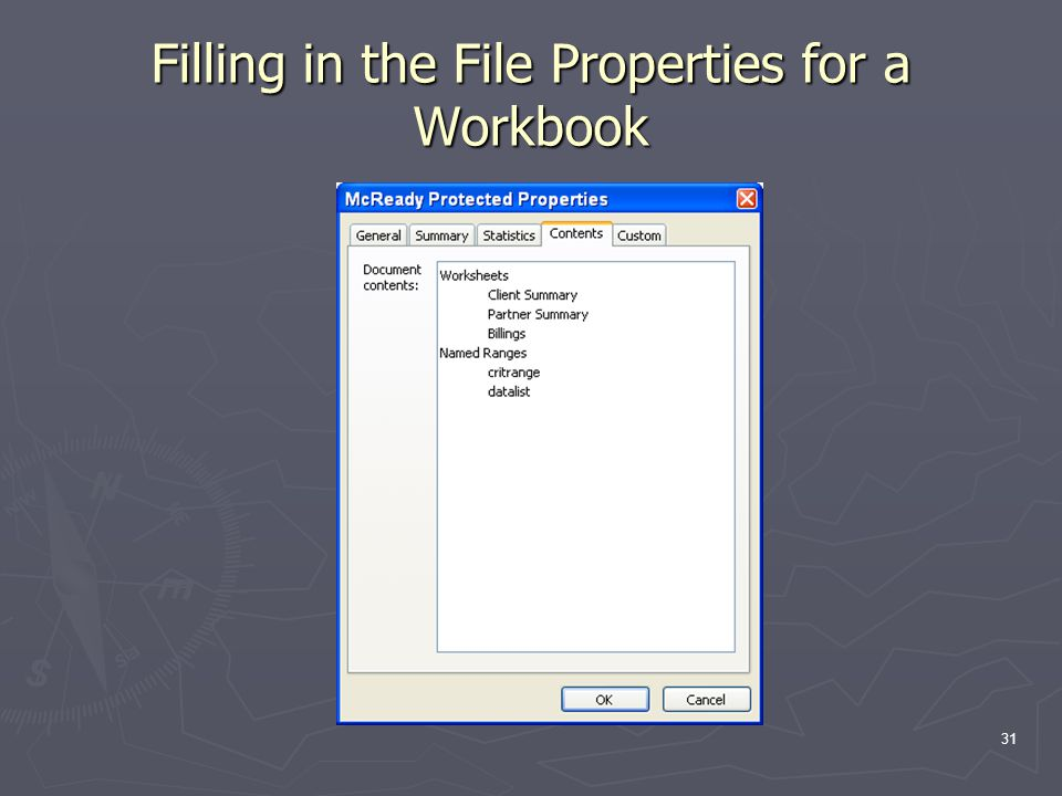 31 Filling in the File Properties for a Workbook