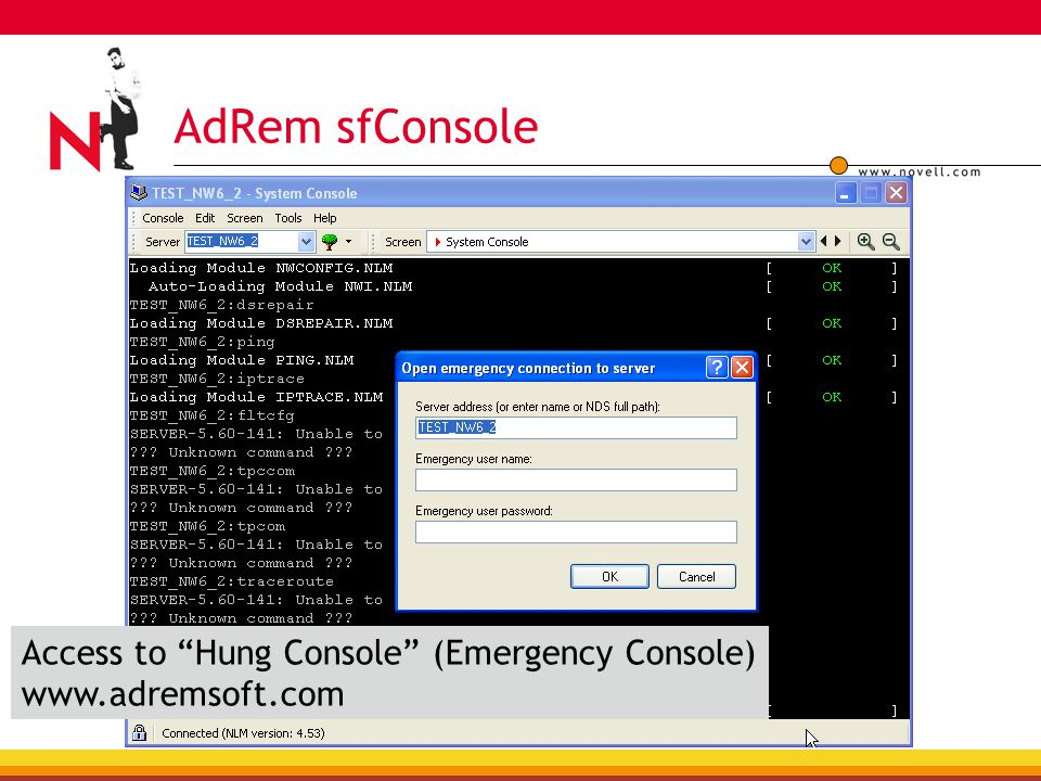 AdRem sfConsole Access to Hung Console (Emergency Console) www.adremsoft.com