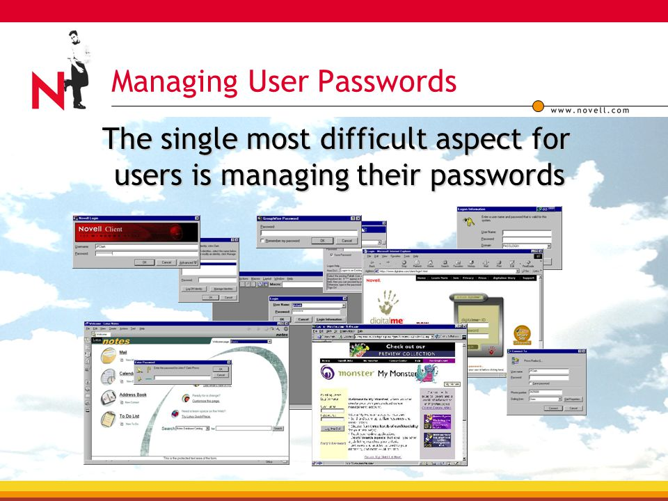 Managing User Passwords The single most difficult aspect for users is managing their passwords The single most difficult aspect for users is managing their passwords