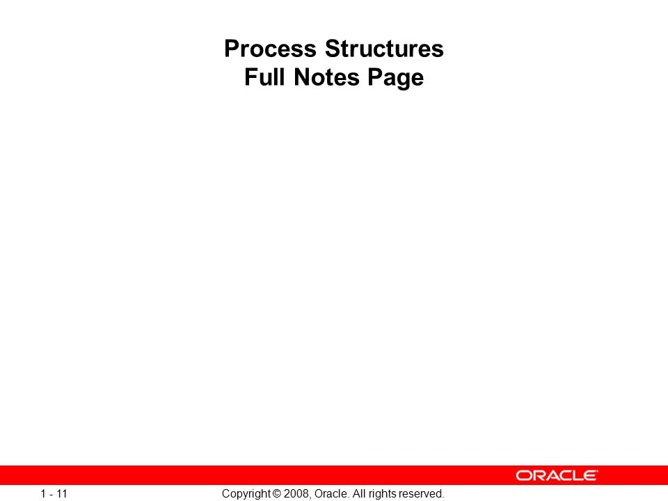 Copyright © 2008, Oracle. All rights reserved. 1 - 11 Process Structures Full Notes Page