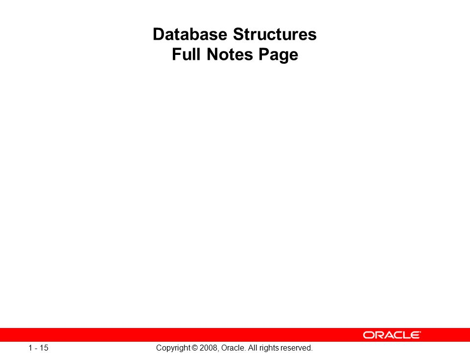 Copyright © 2008, Oracle. All rights reserved. 1 - 15 Database Structures Full Notes Page