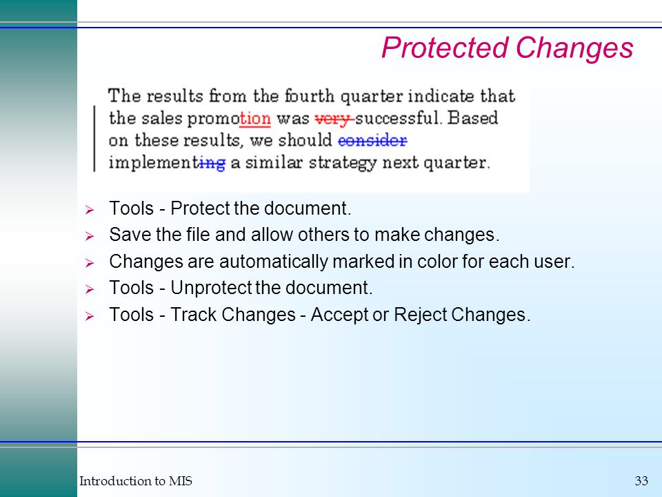 Introduction to MIS33 Protected Changes  Tools - Protect the document.
