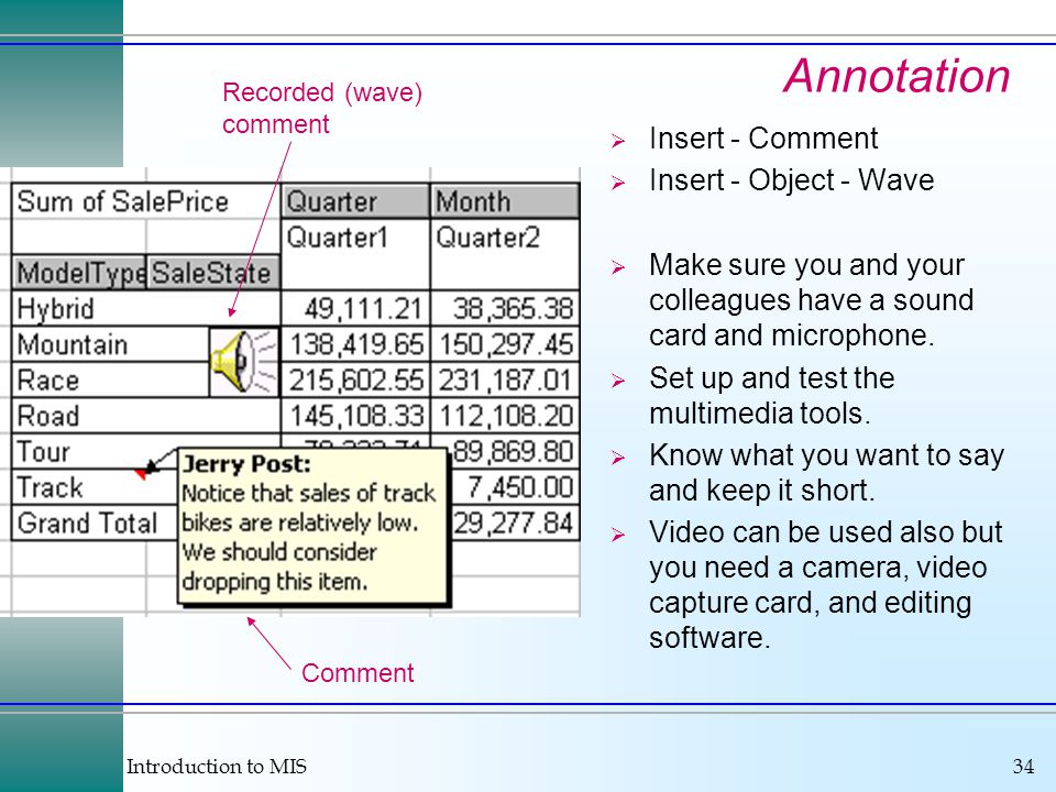 Introduction to MIS34 Annotation  Insert - Comment  Insert - Object - Wave  Make sure you and your colleagues have a sound card and microphone.