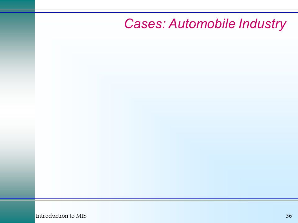 Introduction to MIS36 Cases: Automobile Industry