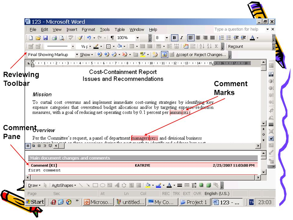 Reviewing Toolbar Comment Marks Comment Pane