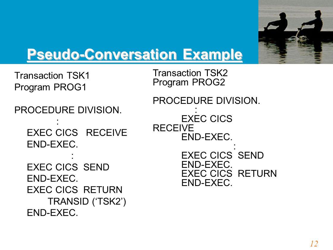 12 Transaction TSK1 Program PROG1 PROCEDURE DIVISION. : EXEC CICS RECEIVE END-EXEC. : EXEC CICS SEND END-EXEC. EXEC CICS RETURN TRANSID ('TSK2') END-E