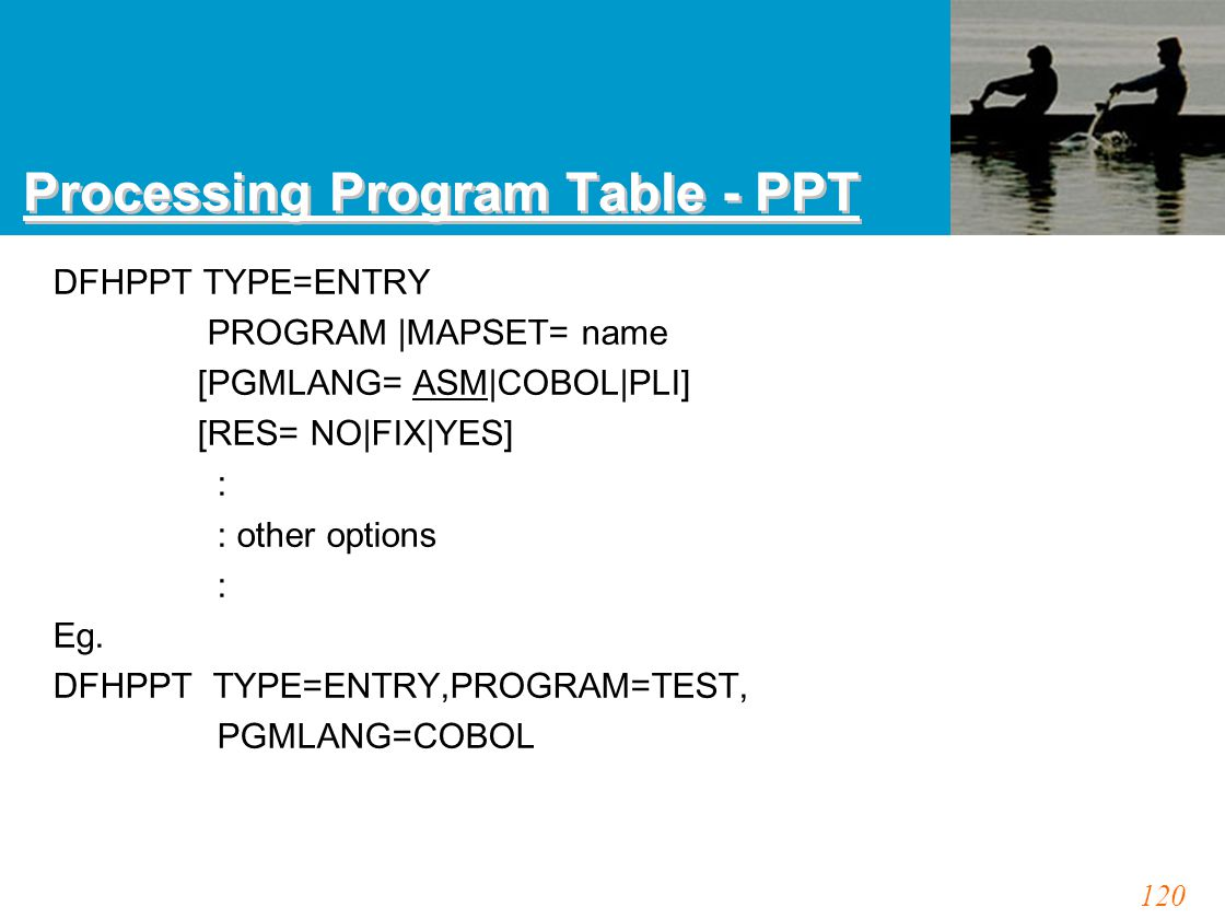 120 Processing Program Table - PPT DFHPPT TYPE=ENTRY PROGRAM |MAPSET= name [PGMLANG= ASM|COBOL|PLI] [RES= NO|FIX|YES] : : other options : Eg. DFHPPT T