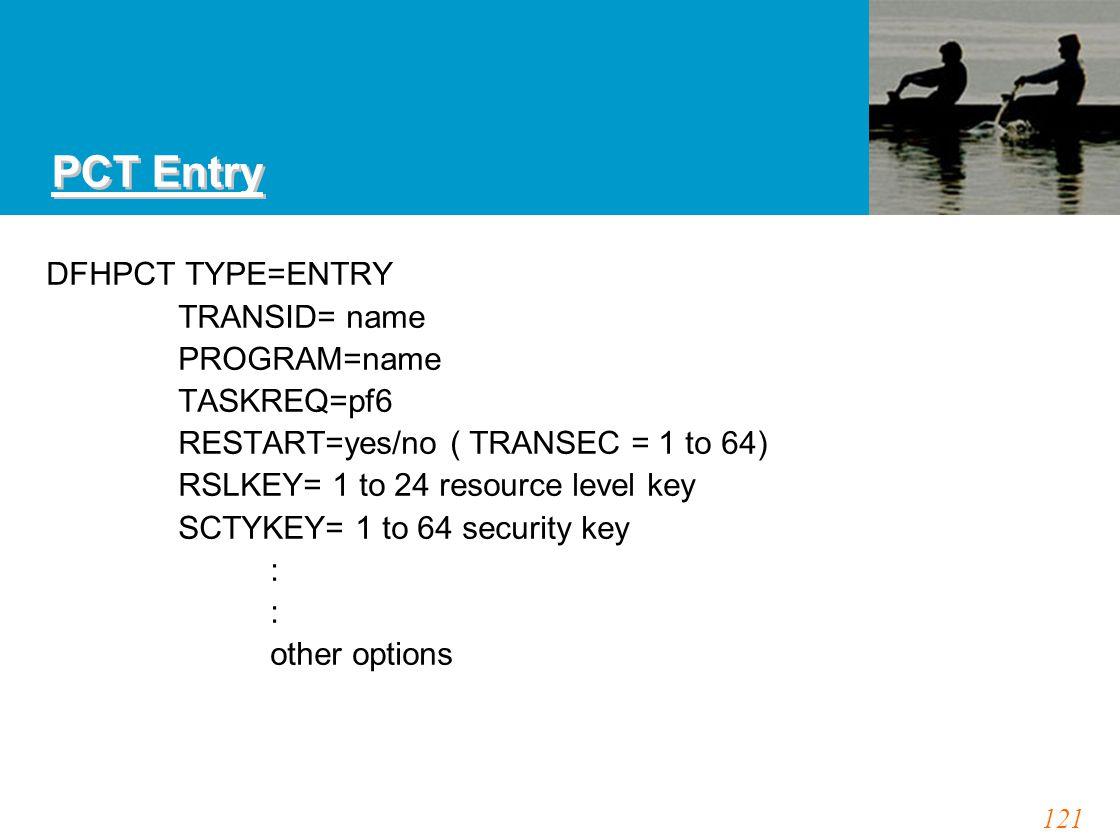121 PCT Entry DFHPCT TYPE=ENTRY TRANSID= name PROGRAM=name TASKREQ=pf6 RESTART=yes/no ( TRANSEC = 1 to 64) RSLKEY= 1 to 24 resource level key SCTYKEY=