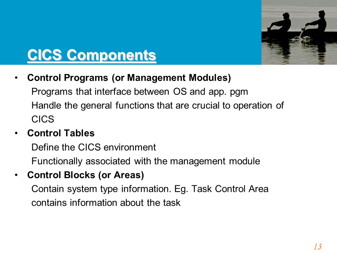 13 Control Programs (or Management Modules) Programs that interface between OS and app. pgm Handle the general functions that are crucial to operation