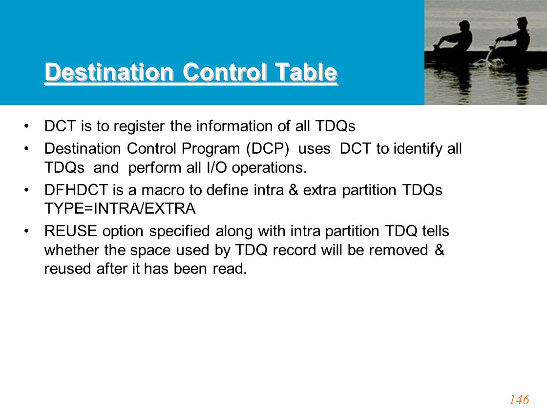 146 Destination Control Table DCT is to register the information of all TDQs Destination Control Program (DCP) uses DCT to identify all TDQs and perfo