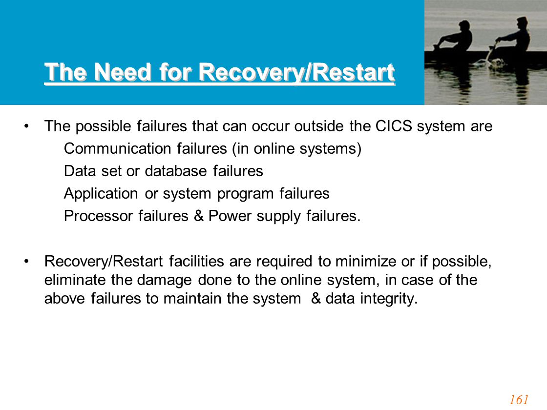 161 The Need for Recovery/Restart The possible failures that can occur outside the CICS system are Communication failures (in online systems) Data set or database failures Application or system program failures Processor failures & Power supply failures.