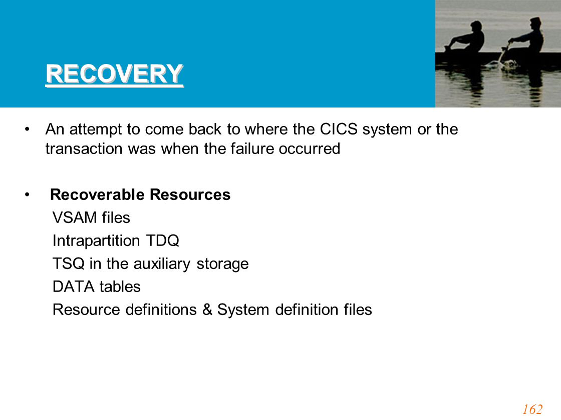 162 RECOVERY An attempt to come back to where the CICS system or the transaction was when the failure occurred Recoverable Resources VSAM files Intrapartition TDQ TSQ in the auxiliary storage DATA tables Resource definitions & System definition files
