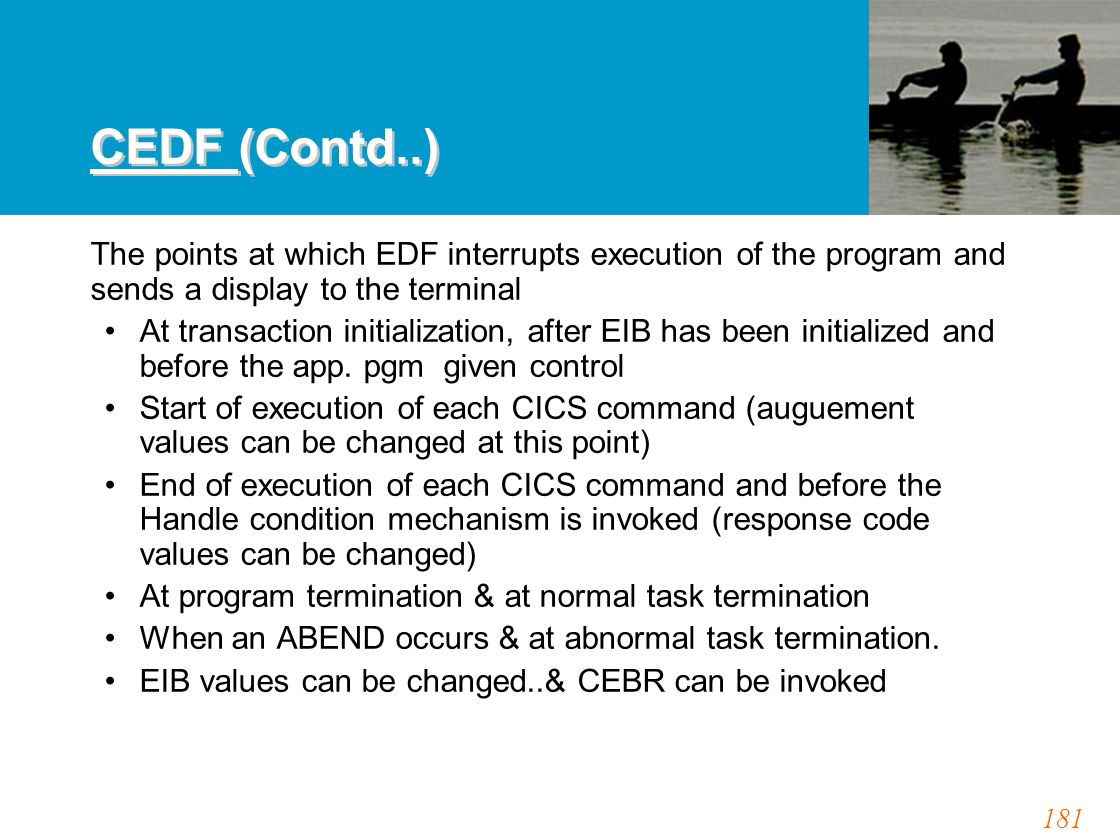 181 CEDF (Contd..) The points at which EDF interrupts execution of the program and sends a display to the terminal At transaction initialization, afte