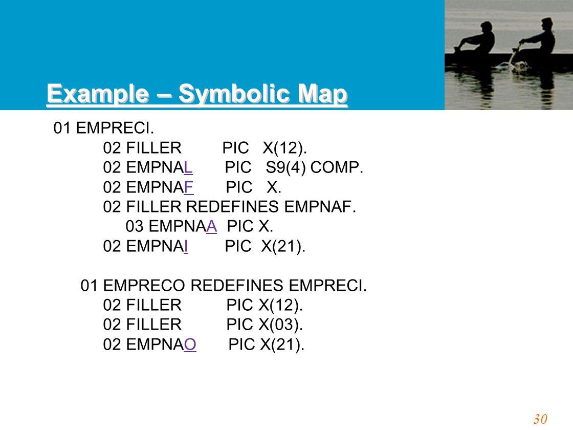 30 01 EMPRECI. 02 FILLER PIC X(12). 02 EMPNAL PIC S9(4) COMP.