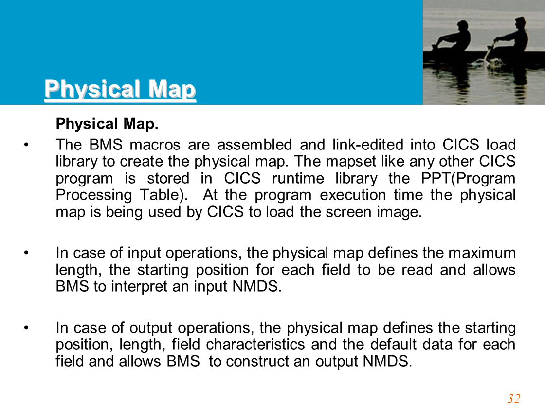 32 Physical Map. The BMS macros are assembled and link-edited into CICS load library to create the physical map. The mapset like any other CICS progra