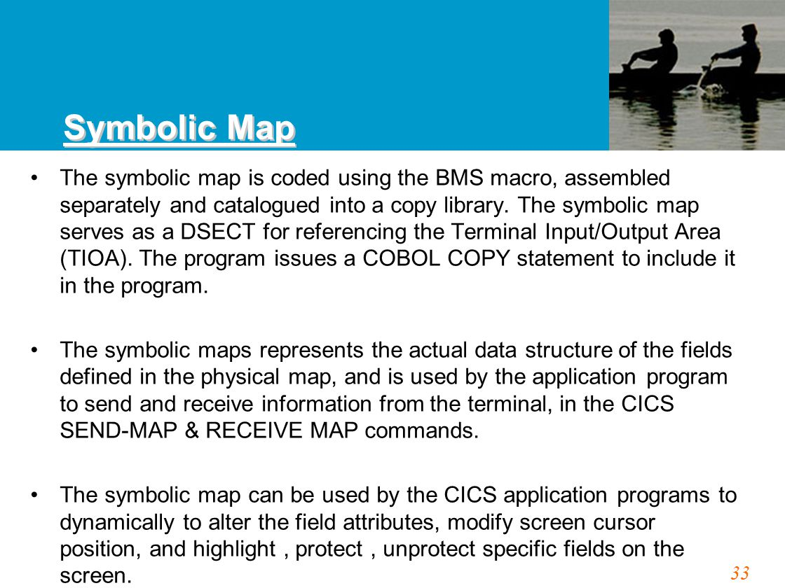 33 The symbolic map is coded using the BMS macro, assembled separately and catalogued into a copy library.