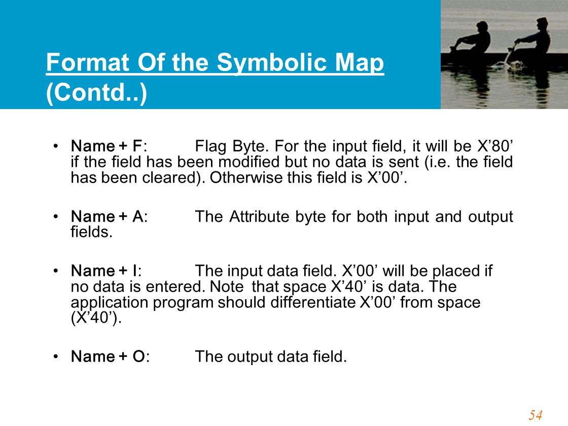 54 Format Of the Symbolic Map (Contd..) Name + F:Flag Byte. For the input field, it will be X'80' if the field has been modified but no data is sent (