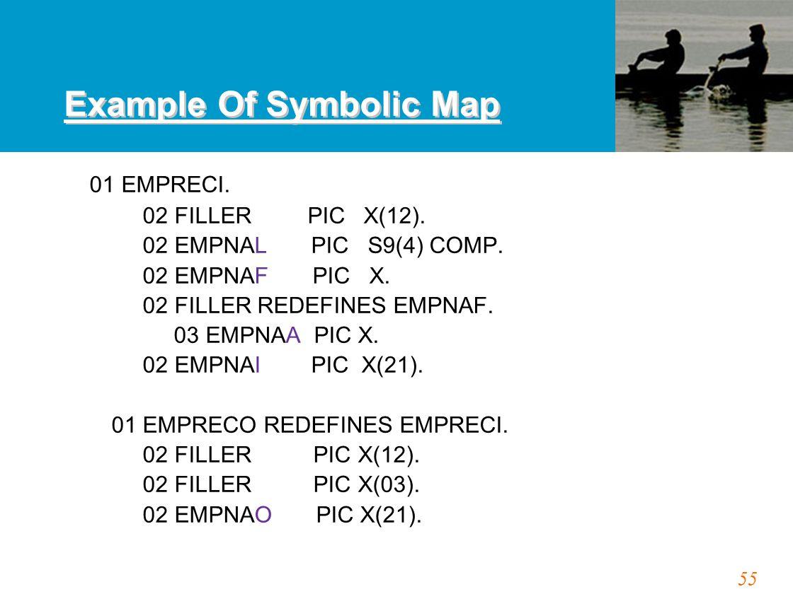 55 Example Of Symbolic Map 01 EMPRECI. 02 FILLER PIC X(12). 02 EMPNAL PIC S9(4) COMP. 02 EMPNAF PIC X. 02 FILLER REDEFINES EMPNAF. 03 EMPNAA PIC X. 02