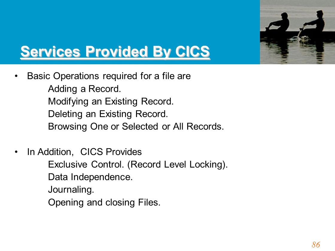 86 Services Provided By CICS Basic Operations required for a file are Adding a Record. Modifying an Existing Record. Deleting an Existing Record. Brow