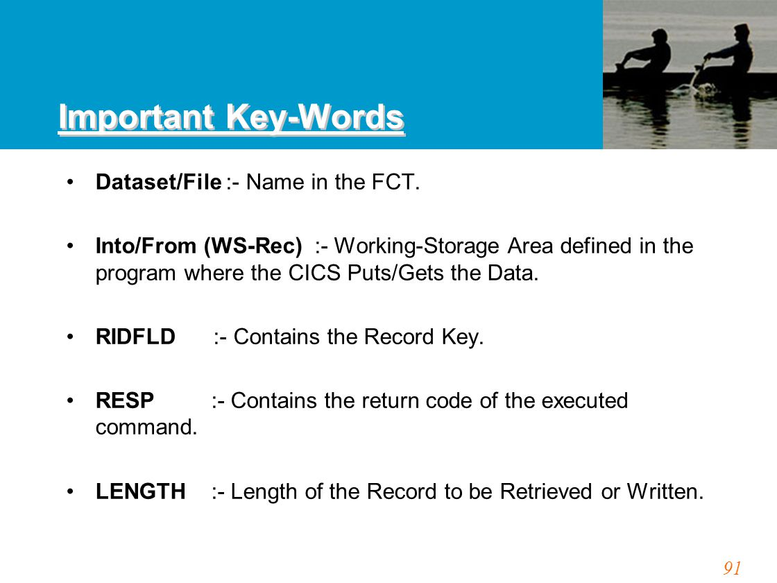 91 Important Key-Words Dataset/File :- Name in the FCT.
