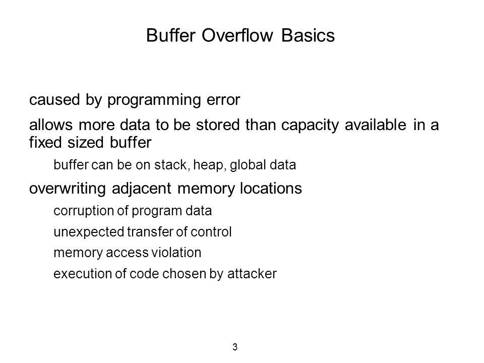 4 Buffer overflow example int foo(void){ char buf[10]; … strcpy(buf, hello world ); } int get_user_input(void){ char buf[LEN]; … gets(buf); }