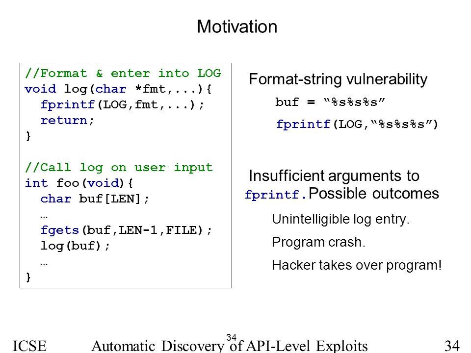 34 ICSE 2005 Automatic Discovery of API-Level Exploits34 Motivation //Format & enter into LOG void log(char *fmt,...){ fprintf(LOG,fmt,...); return; }