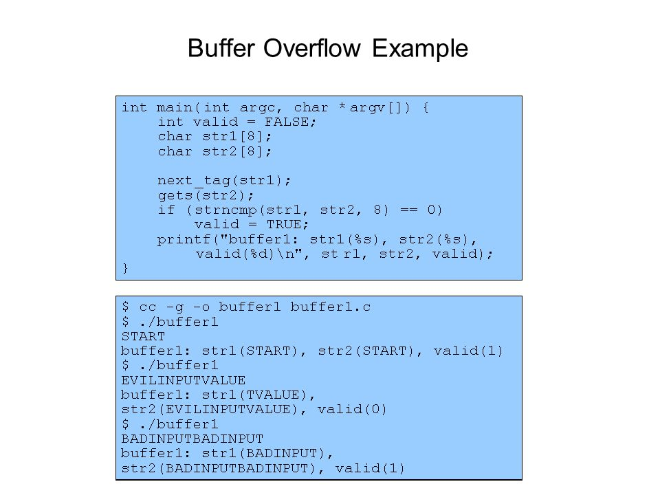 16 A benign buffer overflow void function(char *str){ char buffer[16]; strcpy (buffer, str); } void main() { char largestr[256]; int i; for (i=0;i<255;i++) { largestr[i] = 'A' } function(largestr); } buffer str Return addr Saved ebp This program causes a segfault.