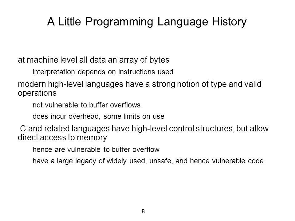 39 ICSE 2005 Automatic Discovery of API-Level Exploits39 Overview of printf //Format & enter into LOG void log(char *fmt,...){ fprintf(LOG,fmt,...); return; } //Call log on user input int foo(void){ char buf[LEN]; … fgets(buf,LEN-1,FILE); log(buf); … } buf LEN Stack frame of log