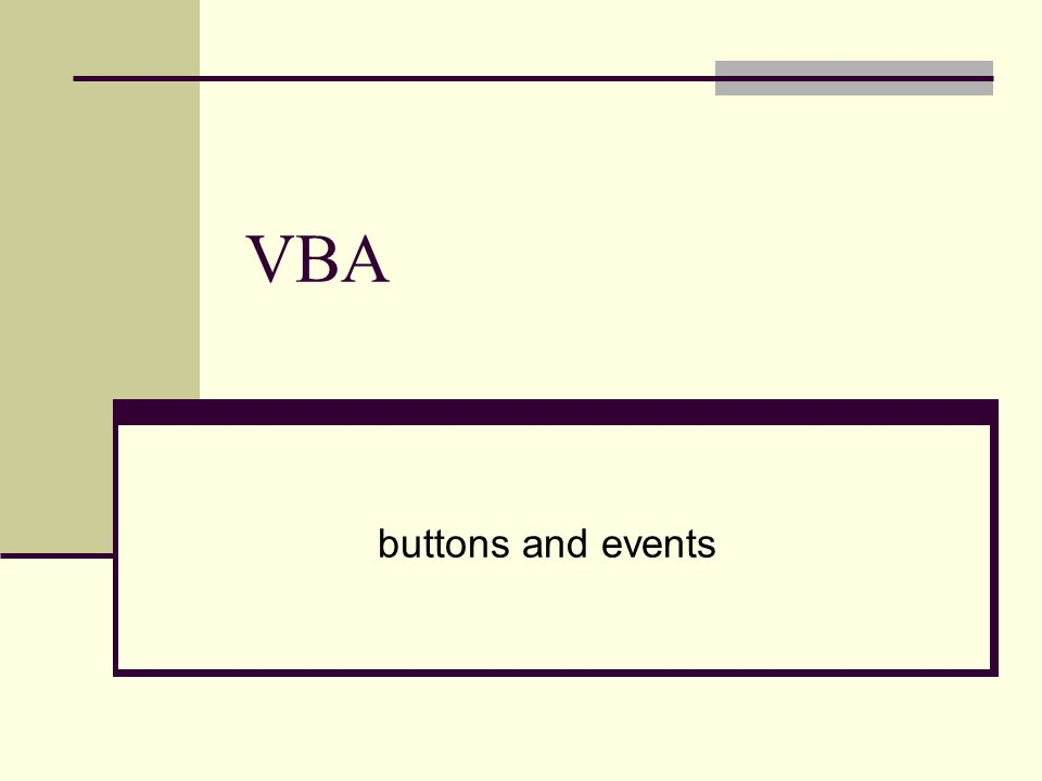 VBA buttons and events