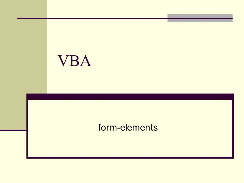 VBA form-elements