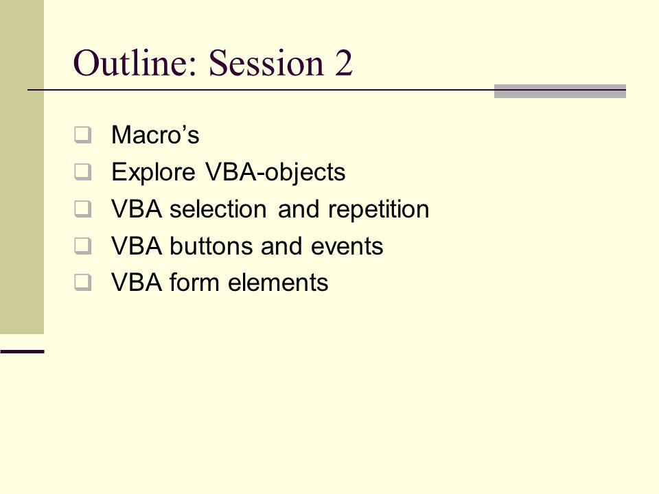 Scenario Management: define several scenarios Use Tools > Scenarios … menu option Add scenarios (with Add… button)