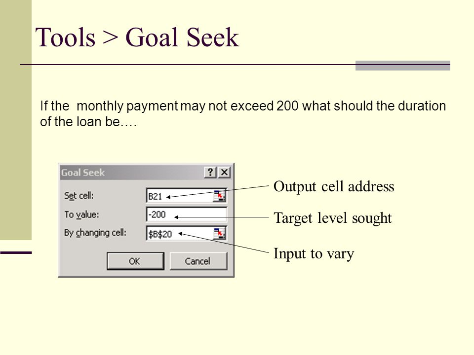 Tools > Goal Seek Output cell address Target level sought Input to vary If the monthly payment may not exceed 200 what should the duration of the loan