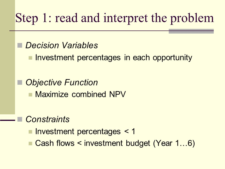 Step 1: read and interpret the problem Decision Variables Investment percentages in each opportunity Objective Function Maximize combined NPV Constrai