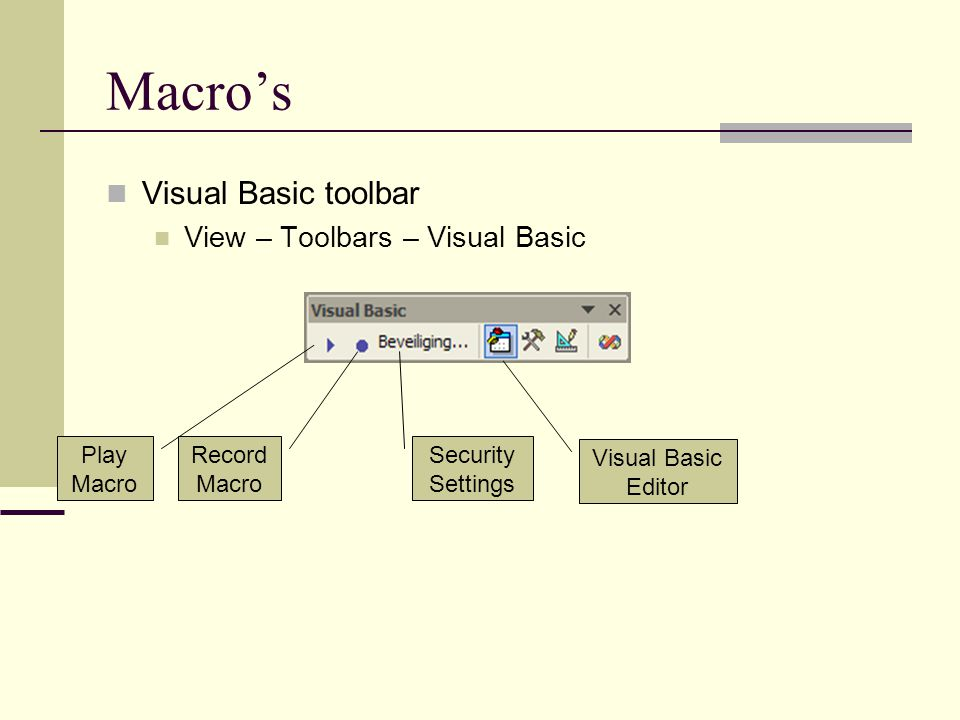 Macro's Visual Basic toolbar View – Toolbars – Visual Basic Play Macro Record Macro Security Settings Visual Basic Editor
